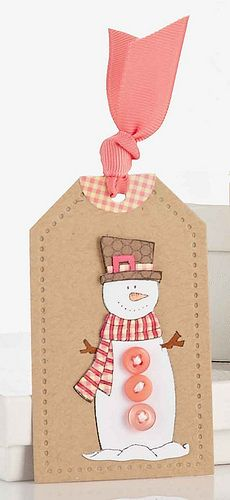 handmade tag: Sweet Snowman Tag by Vanessa Menhorn. ... kraft ... cut out snowman ... clean lines ...