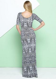 Knit elbow-sleeve maxi dress with scoop neck.