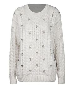 Ivory Sequin Cable-Knit Sweater