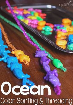 So many great skills practiced with this easy-to-put-together ocean-themed color sorting & threading fine-motor activity!