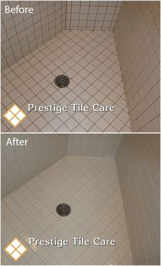Cleaning and colorsealing grout in shower.