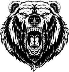 Head a ferocious grizzly bear vector Bear Vector, Dog Vector, Vector Graphics, Grizzly Bear Tattoos, Angry Bear, Totenkopf Tattoos, Bear Drawing, Bear Head, Tattoo Graphic