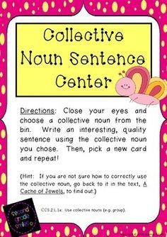 Collective Noun Sentence Center (Freebie!) by Second Grade Smiles #collectivenouns #commoncore
