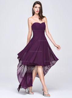 A-Line/Princess Sweetheart Asymmetrical Zipper Up Strapless Sleeveless No Grape Spring Summer Fall General Plus Chiffon Evening Dress