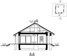 Tani w budowie dom parterowy z dwuspadowym dachem. Village House Design, Village Houses, Weekend House, House Plans, Floor Plans, Farmhouse, Cabin, Studio, Home