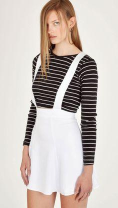 Wren White Suspender Dress
