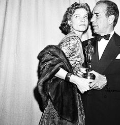 Lauren Bacall and Humphrey Bogart at the 1951 Oscars.  Bogart had just won for his work in The African Queen.