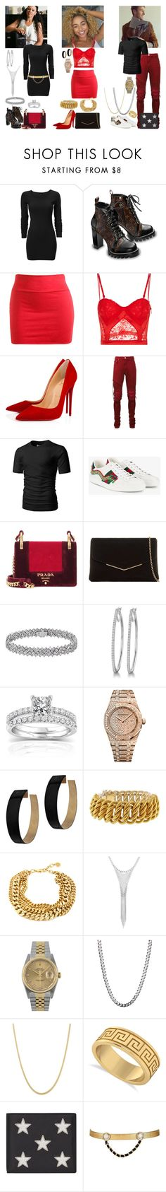 """""""Whatchu Do it for?"""" by i-be-romania143 ❤ liked on Polyvore featuring DK, Wet Seal, La Perla, Christian Louboutin, AMIRI, Gucci, Prada, KoKo Couture, Annello and Audemars Piguet"""