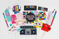 80s Photo Booth Props Printable   INSTANT DOWNLOAD