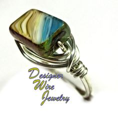 Chic Czech Glass Desert Mirage Artisan Silver Plate Wire Wrap Ring All Sizes