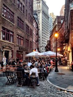 Stone street for dinner. One of my top five favorite streets in Manhattan, New York City. - The Best Photos and Videos of New York City including the Statue of Liberty, Brooklyn Bridge, Central Park, Empire State Building, Chrysler Building and other popular New York places and attractions.
