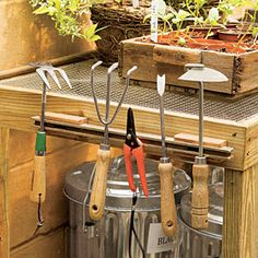 Attach a magnetic strip to the side of a potting bench to keep small steel tools handy and organized. (aluminum won't stick.)