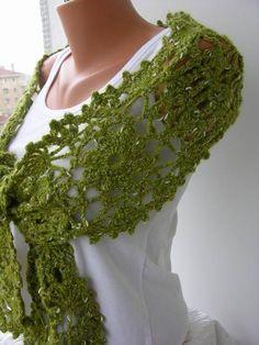 Crochet Scarf Green Scarf