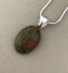 Unakite Necklace, Green Brick Red Stone Necklace, Semiprecious Stone, Hand created by Happylilac on Etsy