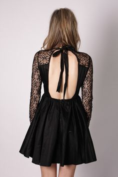 Black lace open back dress