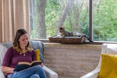 DIY the Window Seat of Your Favorite Feline's Dreams Dog Steps For Bed, Dog Ramp For Bed, Diy Dog Bed, Pet Stairs, Cat Window, Cat Perch, Fluffy Pillows, Small Rugs, Hgtv