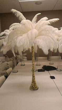 Gold Bling Ice Crystal Ostrich Feather Centerpiece for
