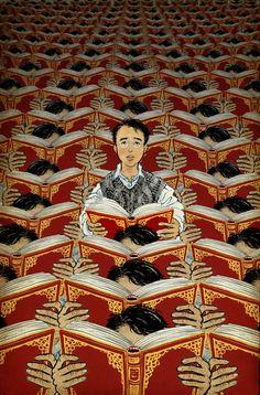 #ilustración #libros #leer Yuko Shimizu - The Unwritten--man reading, but pattern is delightful