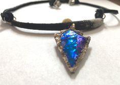 Arrowhead Necklace, Arrowhead Pendant Necklace, Blue Arrowhead Necklace, Tribal Necklace, Arrowhead Jewelry,Tribal Jewelry, Crystal Necklace by LauraAlbrightStudio on Etsy