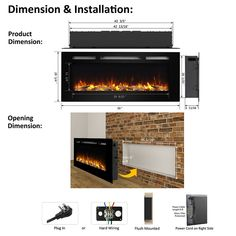 PuraFlame Alice 50 Inches Recessed Electric Fireplace, Wall Mounted for 2 X 6 Stud, Log Set & Crystal, Heater, Black Wall Mounted Fireplace, Home Fireplace, Faux Fireplace, Fireplace Inserts, Fireplace Design, Fake Fireplace Heater, Prefab Fireplace, Basement Fireplace, Fireplace Remodel
