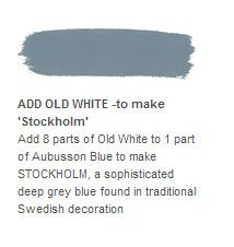 Annie Sloan: Add 8 parts of Old White to 1 part of Aubusson Blue to make STOCKHOLM, a sophisticated deep grey blue found in traditional Swedish decoration. Annie Sloan Chalk Paint Furniture, Annie Sloan Chalk Paint Colors, Blue Chalk Paint, Annie Sloan Paints, Paint Stain, Painted Furniture, Refurbished Furniture, Paint Colours, Painting Tips