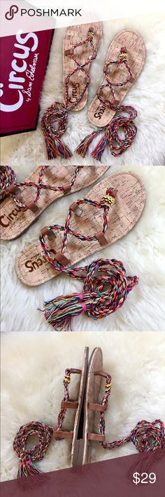 Circus By Sam Edelman Beth Ankle Lace Up Sandals New In Box - fun summer Beth Ankle Lace-Up Sandals By Circus By Sam Edelman with thong toe, multi color woven wrap-around ankle tie closure with tassel trim and grip sole. Manmade and fabric upper, manmade sole. Circus by Sam Edelman Shoes Sandals