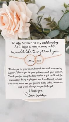 Bridesmaid Gifts From Bride, Wedding Gifts For Parents, Mother Of The Groom Gifts, Bride And Groom Gifts, Wedding Gifts For Bride, Wedding Wishes, Sentimental Wedding Ideas, Bridesmaid Quotes, Mother Of The Bride