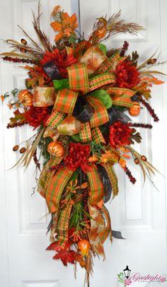 Autumn Fall Splendor Teardrop Swag by Gaslight Floral Design… Thanksgiving Wreaths, Autumn Wreaths, Holiday Wreaths, Halloween Wreaths, Wreath Fall, Spring Wreaths, Fall Swags, Christmas Swags, Outdoor Wreaths
