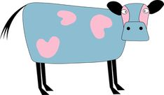 Cartoon image of a cow in pink and blue color. Cow Clipart, Cartoon Images, Baby Toys, Clip Art, Pink, Blue, Animals, Color, Cow Illustration