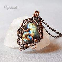 Wire jewelry, Labradorite pendant, copper jewelry, birthday gift, wire wrapped…