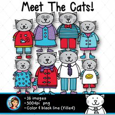 Please meet the cats! You are going to love this animal family! 16 images available in full color and black line with a white fill. Perfect for classroom projects :)