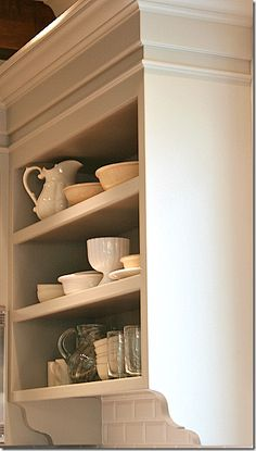 open shelving kitchen cabinets with beautiful detail Art display kitchen farmhouse kitchen kitchen Kitchen Pantry Cabinets, Open Cabinets, Kitchen Shelves, Kitchen Reno, Kitchen Remodeling, Gray Cabinets, Kitchen Walls, Remodeling Ideas, Cottage Kitchens