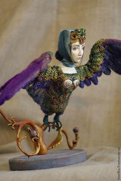 Купить Птица Сирин - золотой, авторская работа, ручная работа, птица Сирин, Папье-маше