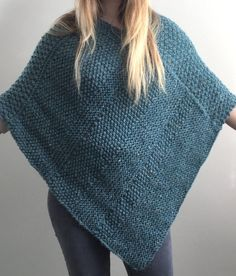 Knitting Pattern for Lorna Poncho - This easy poncho is knit flat in easy knit and purl textures including moss, double moss and garter stitch. Designed by The Lonely Sea