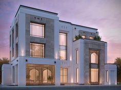 private villa 400 m kuwait sarah sadeq architects: Moroccan vibes in the arches Villa Design, Facade Design, Modern House Design, Exterior Design, Classic Architecture, Islamic Architecture, Architecture Design, Building Elevation, House Elevation