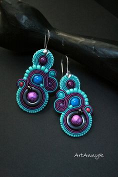 Soutache earrings in turquoise and violet from ArtAnnyR