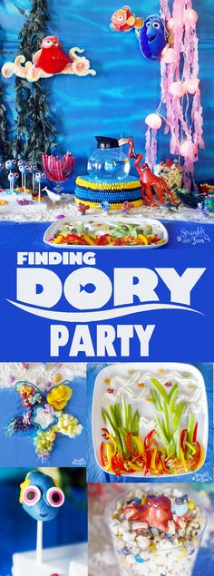 This Finding Dory party is complete with Finding Dory fun with every detail including Finding Dory games, food and party supplies! 3rd Birthday Parties, Birthday Fun, Birthday Ideas, Finding Dory, First Birthdays, Party Supplies, Disney, Finding Dori Party Ideas, Finding Nemo
