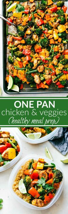 One Pan Healthy Chicken and Veggies - a great healthy way to meal prep for the week!via http://chelseasmessyapron.com