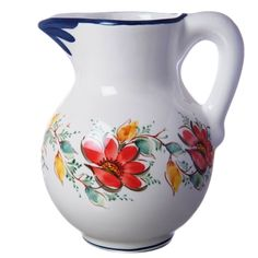 Bilha canjirão pintura flor vermelha vintage • 16x21,5cm  2000ml • Large pitcher red flower painting