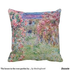 The house in the rose garden by Claude Monet, Throw Pillows