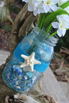 Starfish Painted Mason Jars,  Nautical Table Center Piece