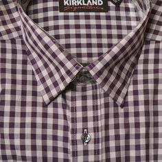 Kirkland Mens Sport Non-Iron Dress Shirt Button Long Sleeve Plaid Print Point  #KirklandSignature
