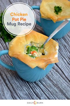 Put down the pan because this single-serving chicken pot pie can be prepared in a mug! It's an easy and healthy spin on the classic comfort food dish. (easy snacks for one) Healthy Chicken Pot Pie, Chicken Breast Recipes Healthy, Chicken Recipes, Healthy Recipes, Healthy Food, Cooked Chicken, Healthy Dinners, Small Meals, Meals For One