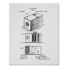 Camera 1988 Patent Art White Paper Poster