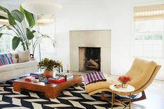 cool, color pops in the living room