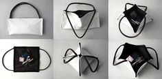 Inspired by the Japanese art of origami, the now Berlin based designer (born in Mexico, raised in Argentina, college in Japan… phew!), Ayako Hase, has created a bag that can be folded and transformed into different looks and uses.