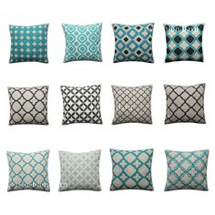 Blue Geometric Turquoise Navy Moroccan Trellis Cushion Cover Pillow Cover Living Room Update, Living Room Paint, Cheap Pillows, Geometric Cushions, Cover Pillow, Trellis, Home Accessories, Moroccan, Decorative Pillows