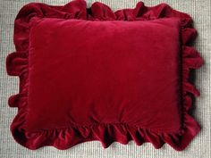 2 Ralph Lauren Guinevere Red Velvet Ruffled Pillow Shams Standard Euc Pair - Pillow Shams