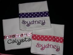 Custom Embroidered Personalized Pillowcase Dotted Ribbon Embroidery on Etsy, $12.00