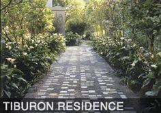 stones in walkway arranged like Braille dots - Tiburon CA - Delaney + Chin